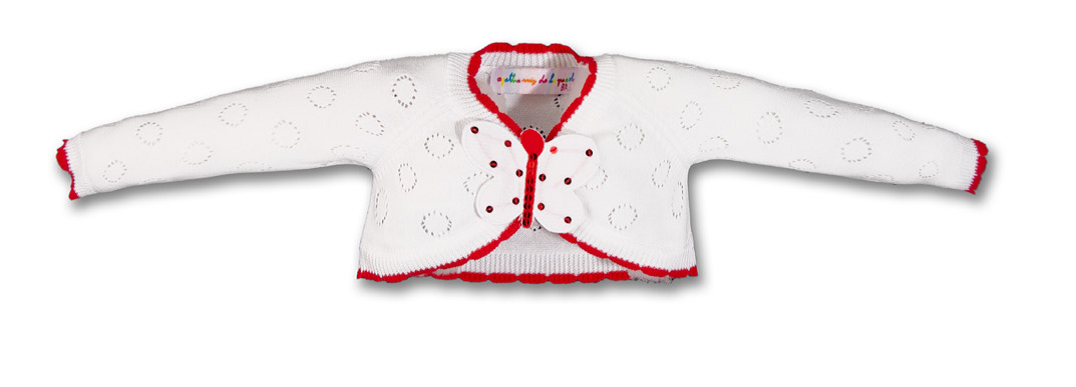 e3f21b6de AGATHA RUIZ DE LA PRADA BABY GIRL WHITE   RED KNITTED BUTTERFLY ...