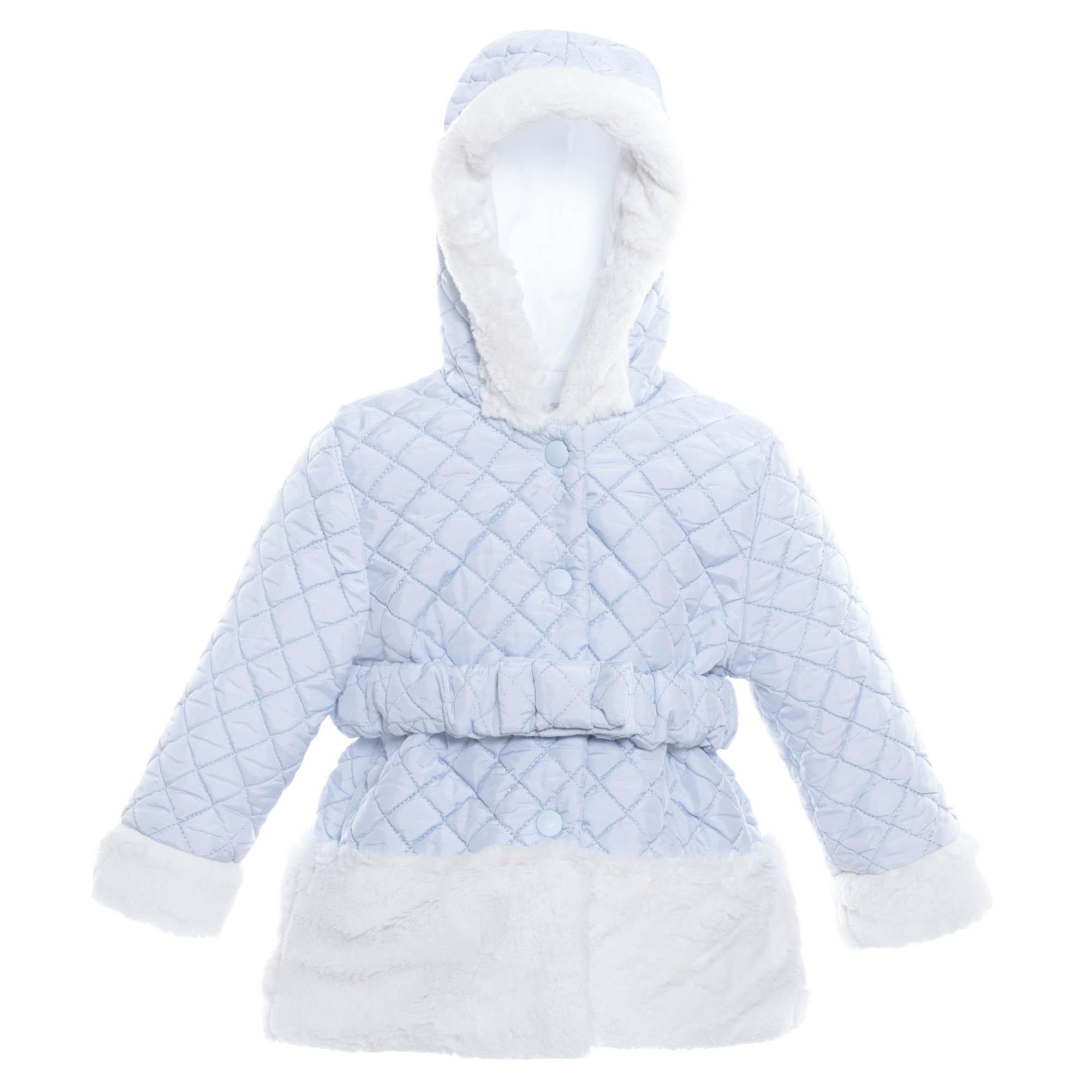 7181515134df PATACHOU GIRLS SKY BLUE   WHITE HOODED FAUX FUR COAT REF.  2533220 ...
