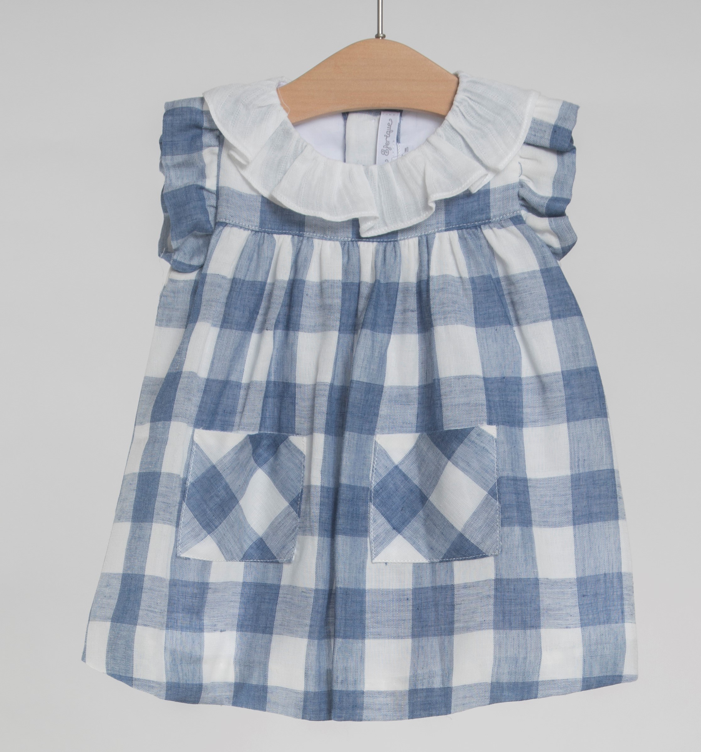 c4e21f9546bb FINA EJERIQUE GIRLS DUSTY BLUE   OFF WHITE CHECKED FRILLED DRESS REF ...