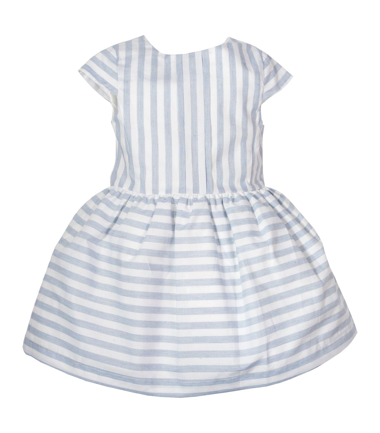 8a7445713a49 LARANJINHA GIRLS WHITE   SKY BLUE STRIPED DRESS REF.  CV824 ...