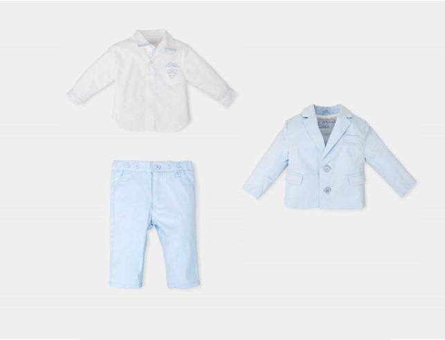 4be5d402701a TUTTO PICCOLO BOYS WHITE SHIRT & SKY BLUE TROUSERS & BLAZER SET REF ...