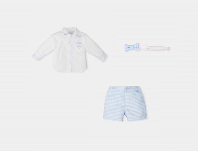 d2b1f1233a19 TUTTO PICCOLO BABY BOY WHITE SHIRT & CHECKED SHORTS WITH BOW TIE REF ...