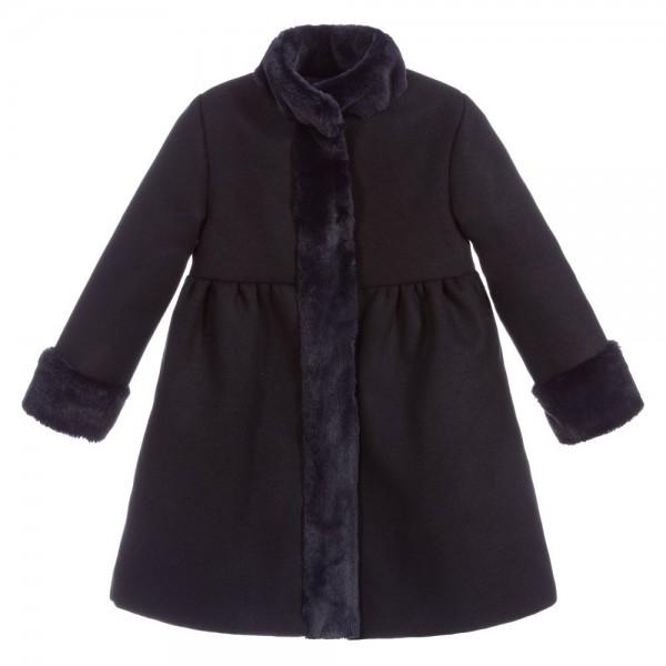 61c9065a271fa PATACHOU GIRLS NAVY BLUE COAT WITH FAKE FUR DETAILS REF.  2733561 -  masielbebe.co.uk