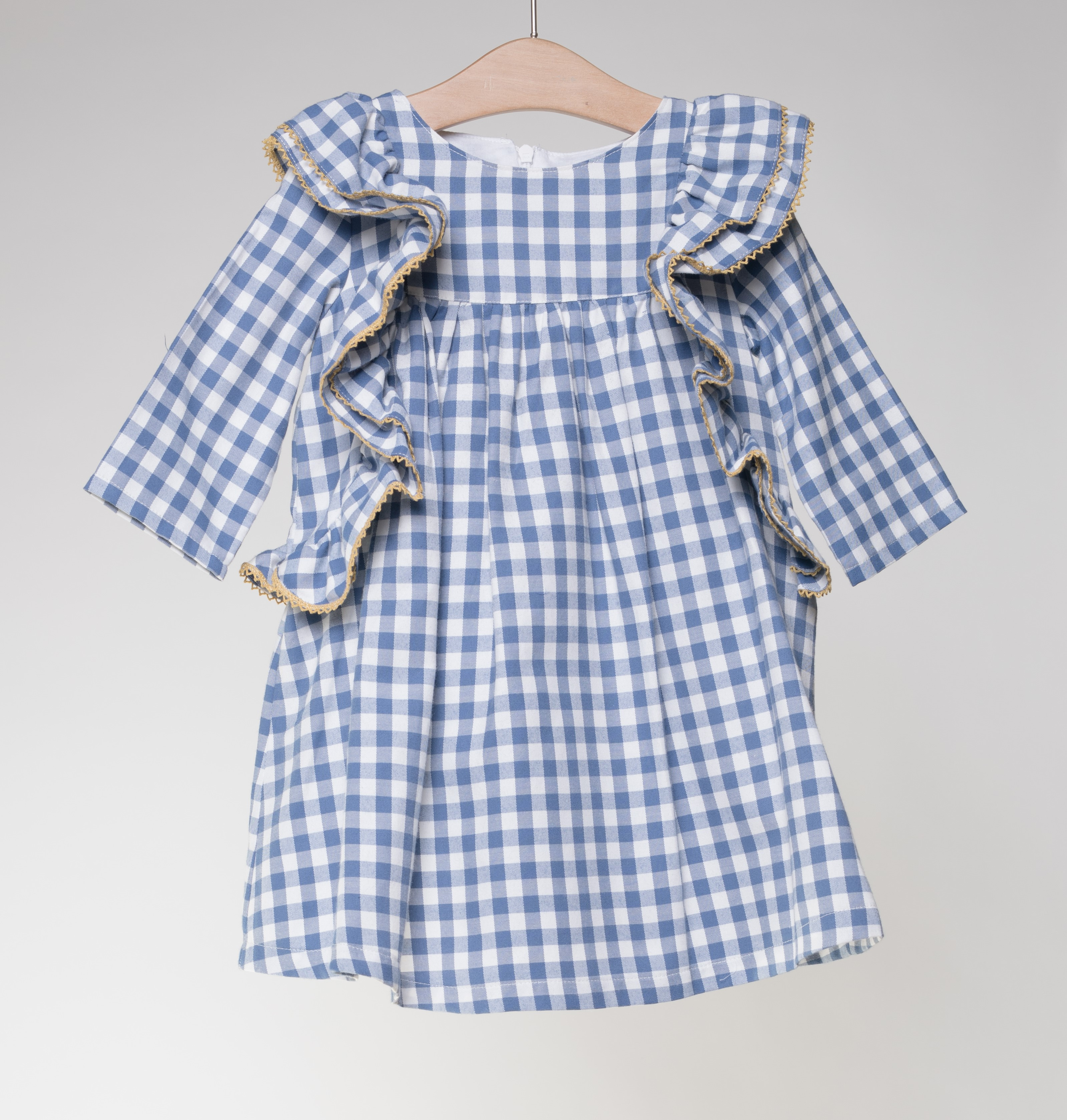 4941ed8738d5 FINA EJERIQUE GIRLS INDIGO BLUE   WHITE   YELLOW CHECKED FRILLED ...