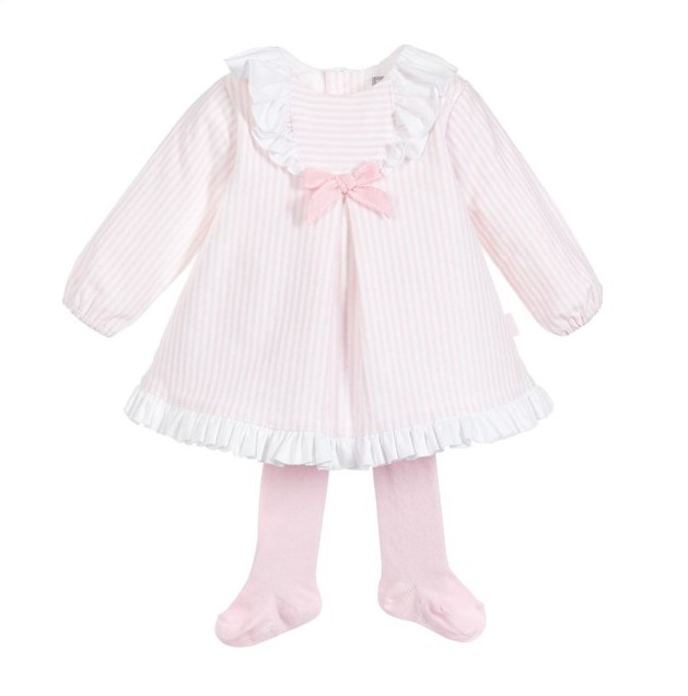 f3f2ccba257 TUTTO PICCOLO BABY GIRL PINK   WHITE STRIPED FRILLED DRESS   TIGHTS ...
