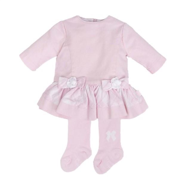 672f0fa31 TUTTO PICCOLO BABY GIRL PINK & WHITE CHECKED DRESS & TIGHTS REF ...