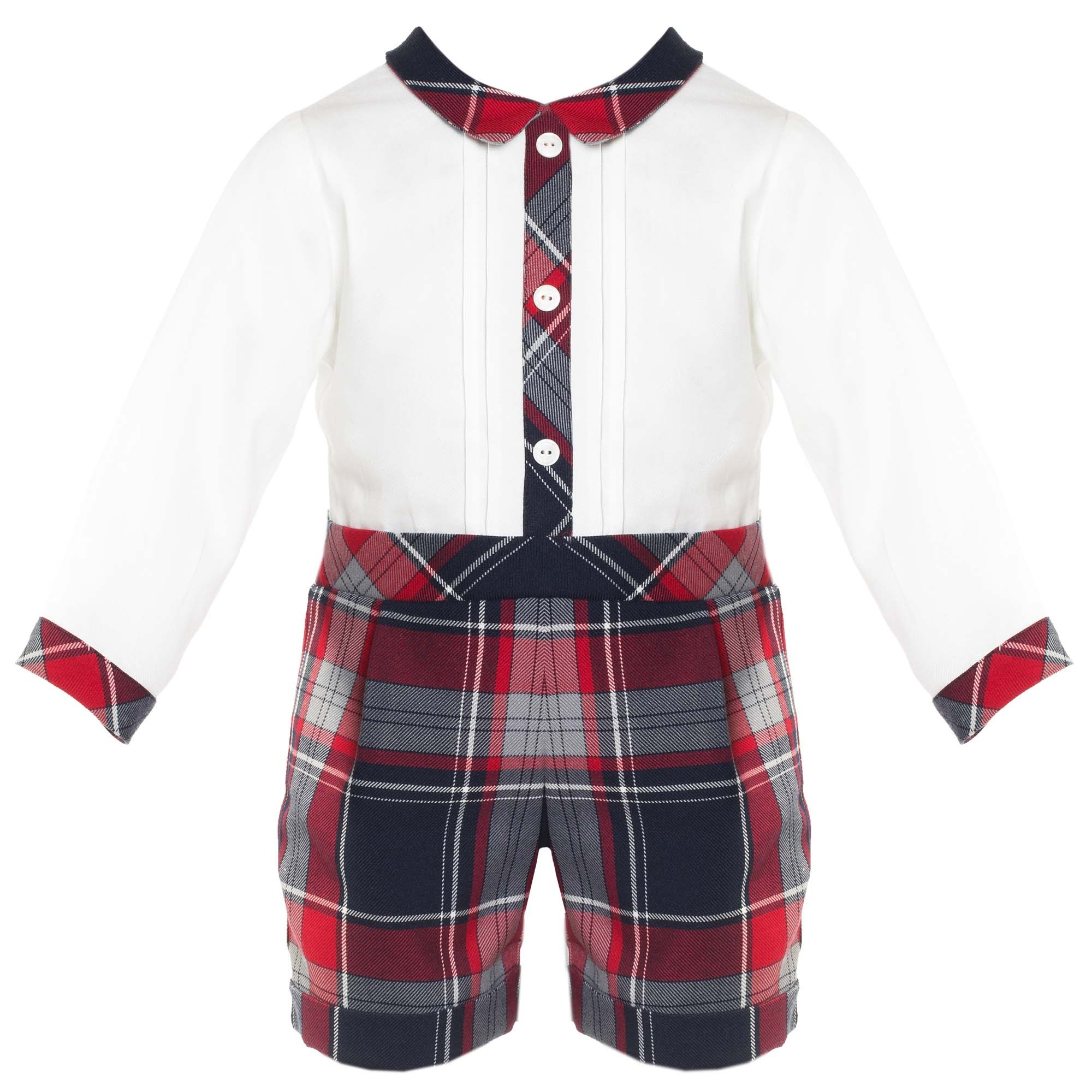 7196c75d3 PATACHOU BABY BOY WHITE   NAVY BLUE   RED TARTAN ROMPER REF ...