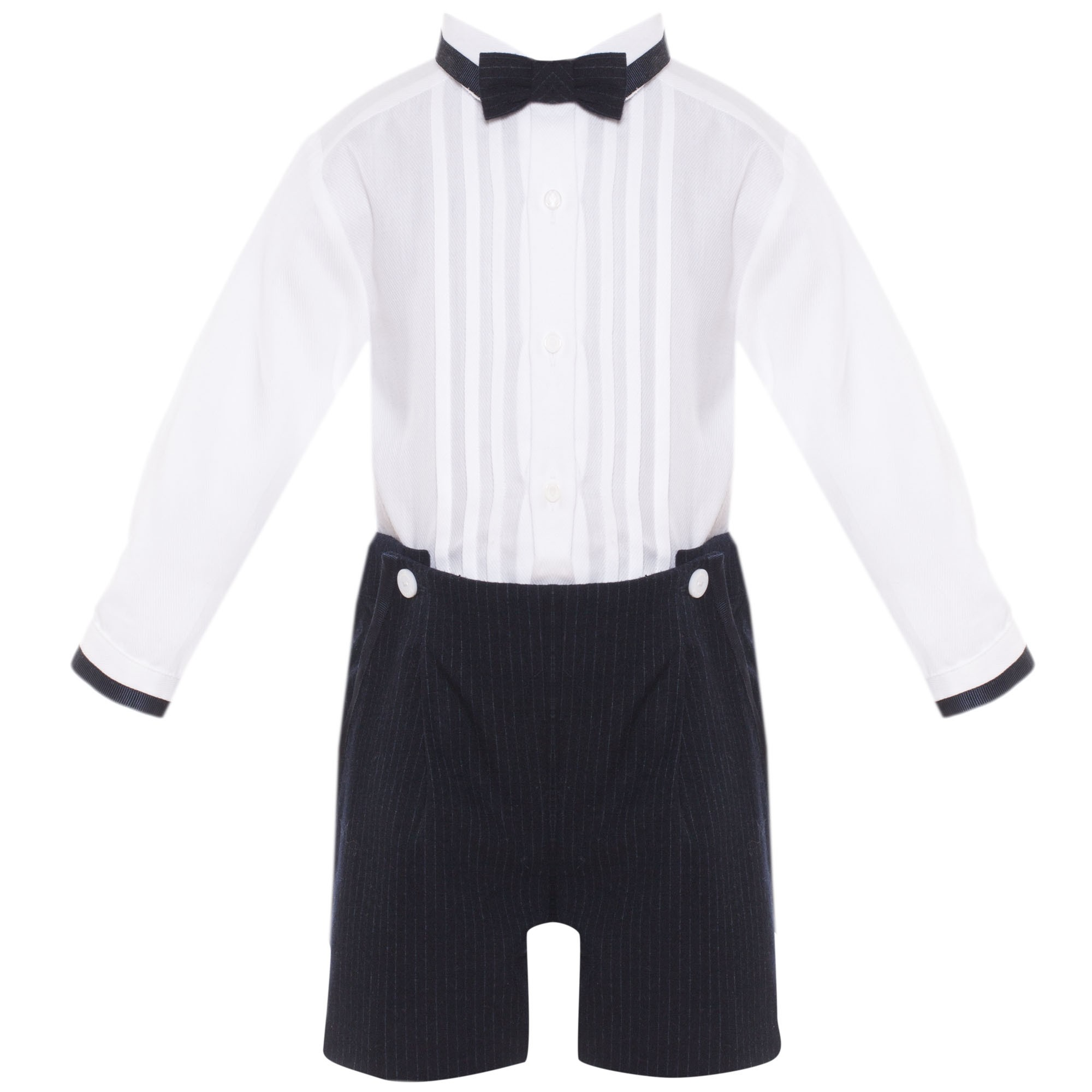 d68bbf958a70e PATACHOU BABY BOY WHITE & GREY STRIPED ROMPER WITH REMOVABLE BOW TIE ...