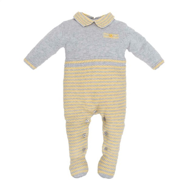 3a5ec21d48e TUTTO PICCOLO BABY BOY GREY   YELLOW STRIPED KNITTED BABYGROW REF ...