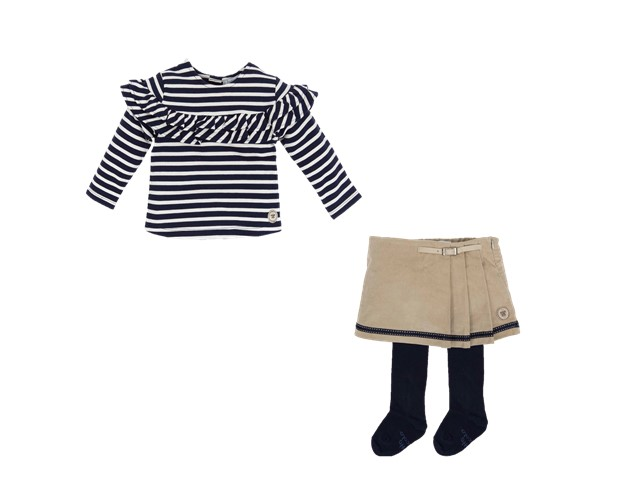 3d052f316c4 TUTTO PICCOLO GIRLS NAVY BLUE   WHITE STRIPED FRILLED T-SHIRT ...