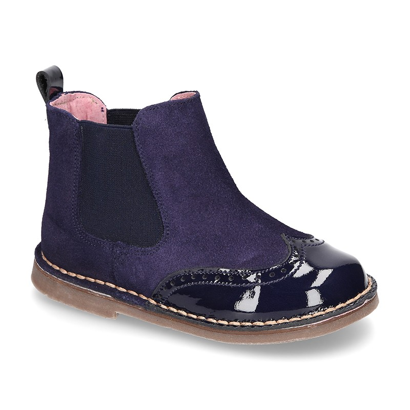 great variety models beautiful design big discount sale OKAA GIRLS NAVY BLUE SUEDE & PATENT CHELSEA BOOTS REF.: 50029