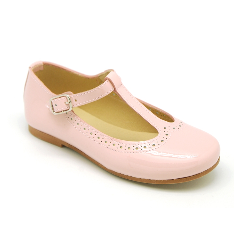 OKAA GIRLS PINK PATENT T-BAR SHOES REF