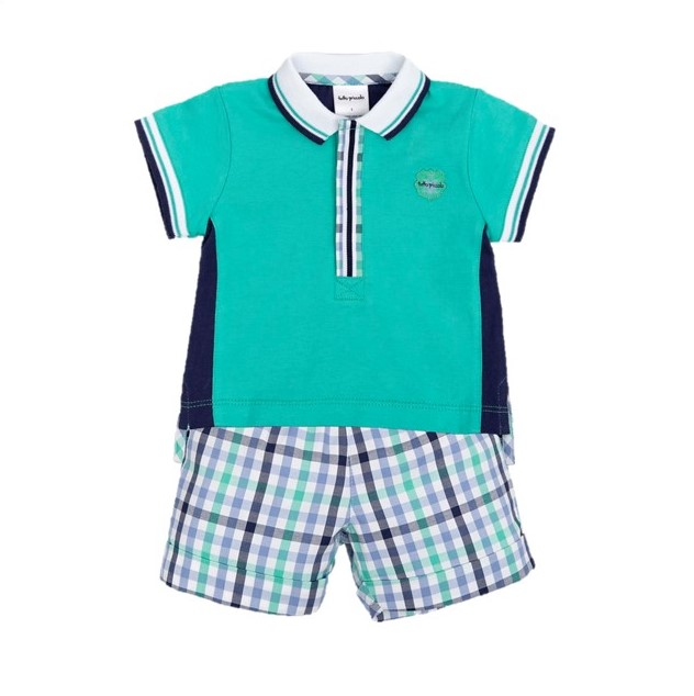 b54724515c9e TUTTO PICCOLO BOYS GREEN AND NAVY POLO SHIRT WITH SHORTS SET REF ...