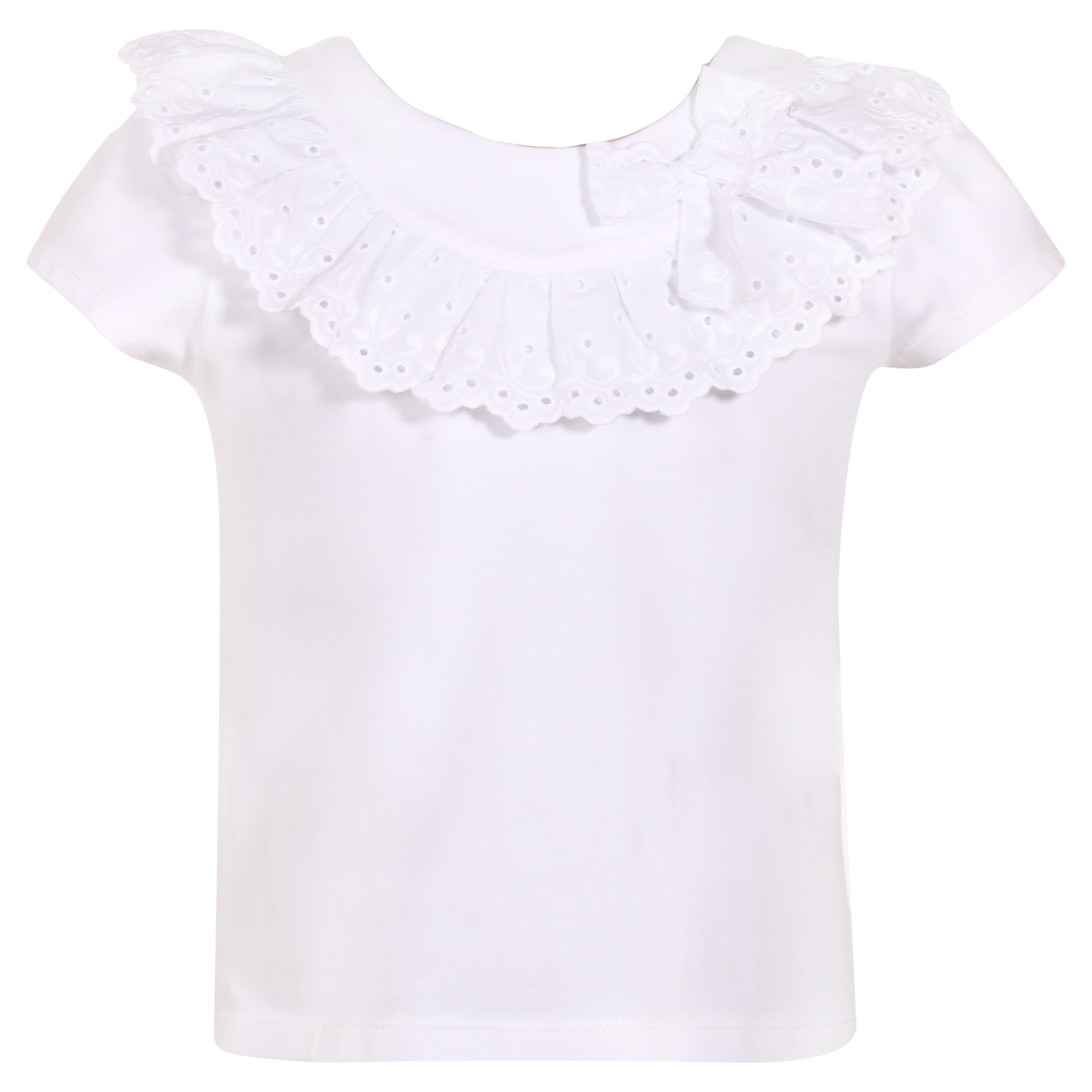 53a854346 PATACHOU GIRLS WHITE JERSEY TOP WITH BRODERIE ANGLAISE REF.: 2833443 -  masielbebe.co.uk