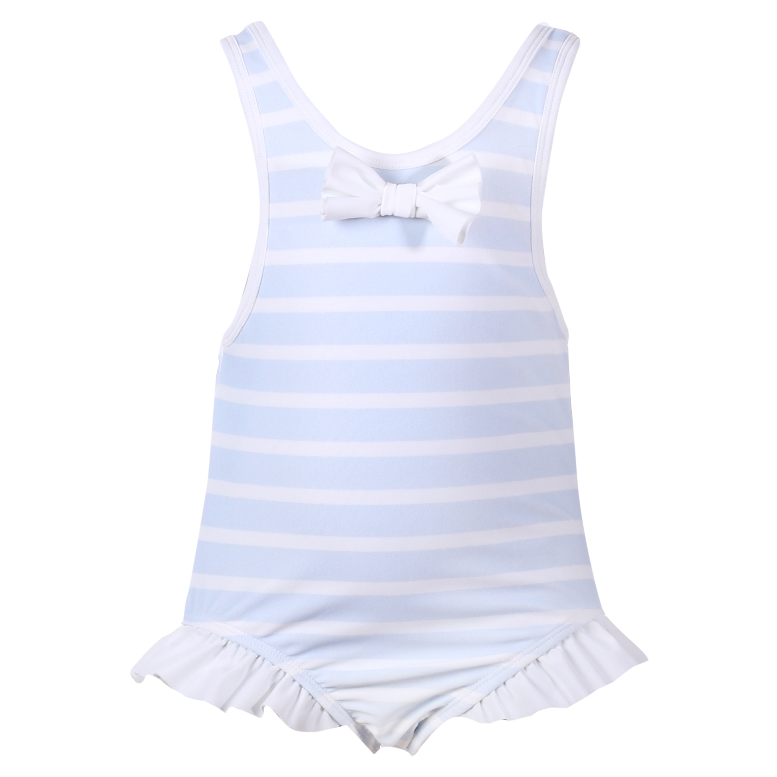 8eccac6ce776 PATACHOU BABY GIRL SKY BLUE   WHITE STRIPED FRILLED BOW SWIMSUIT REF ...