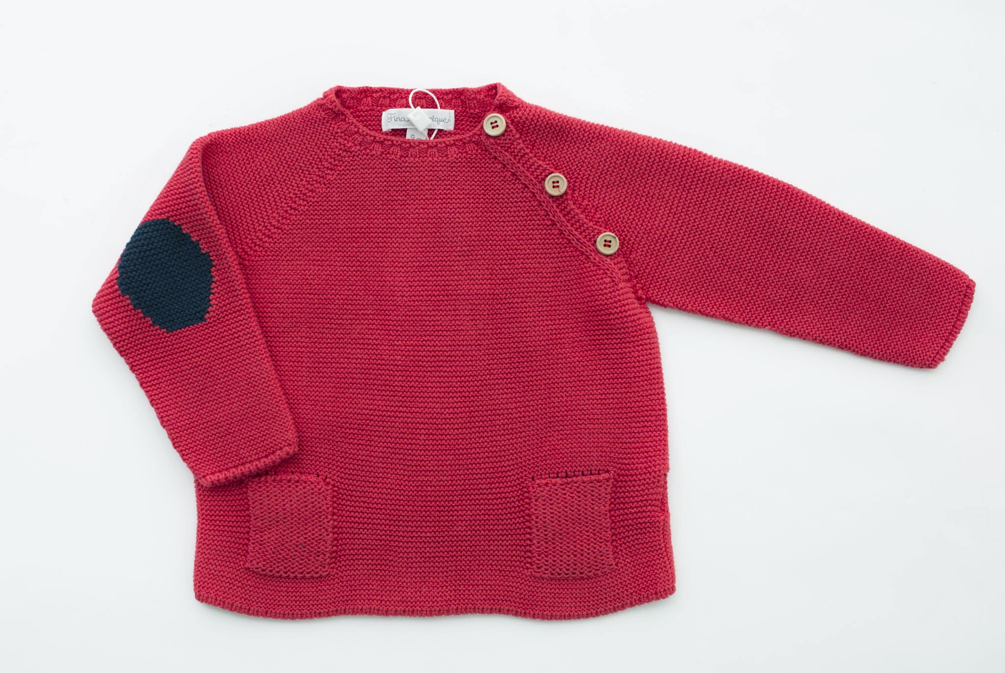 FINA EJERIQUE BOYS RED & NAVY BLUE KNITTED CARDIGAN REF.: B26H08