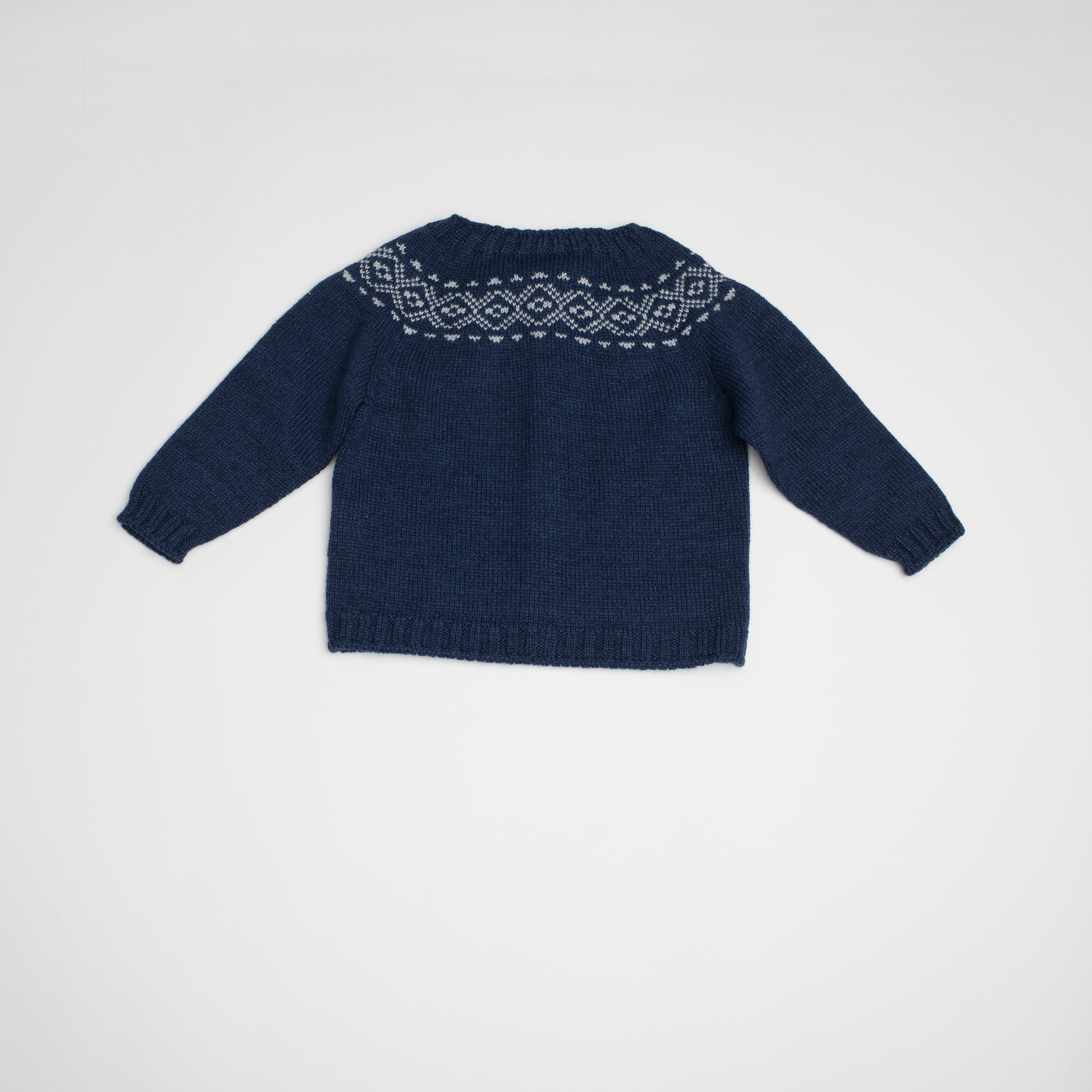 FINA EJERIQUE BOYS NAVY BLUE & WHITE KNITTED GEOMETRICAL PRINT CARDIGAN REF.: A46H06