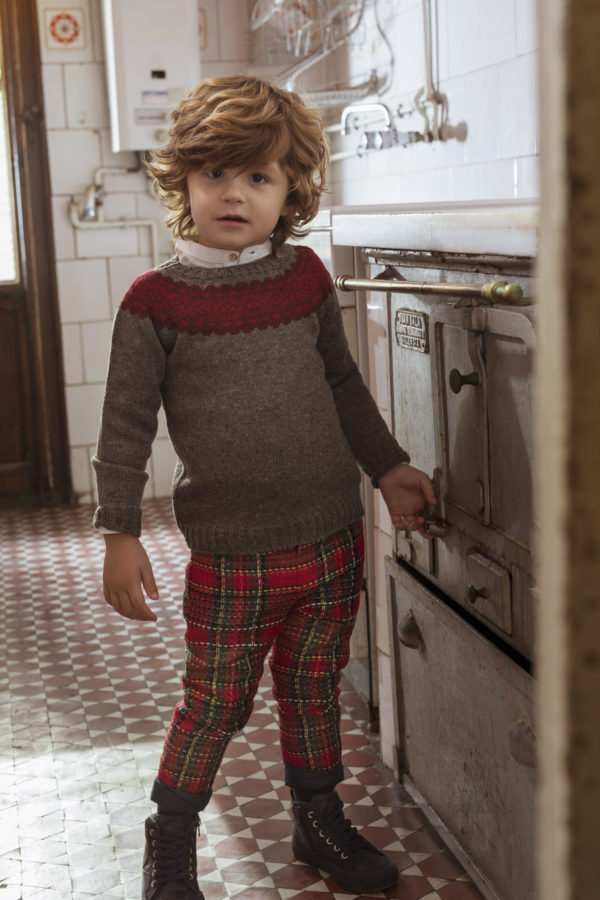 FINA EJERIQUE BOYS BROWN & RED KNITTED GEOMETRICAL PRINT JUMPER REF.: B26H11